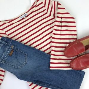 Madewell red & white sweater bell sleeve S